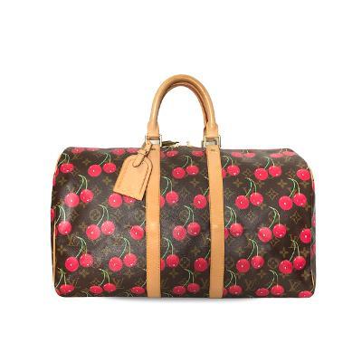 cherry pattern monogram boston bag